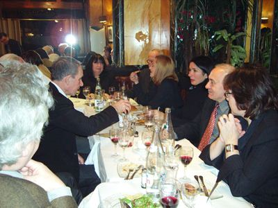 conference participants at dinner